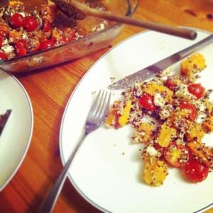Pompoensalade quinoa linzen feta