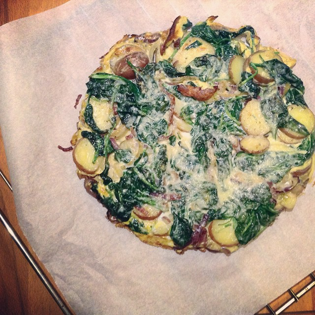 Tortilla spinazie ui